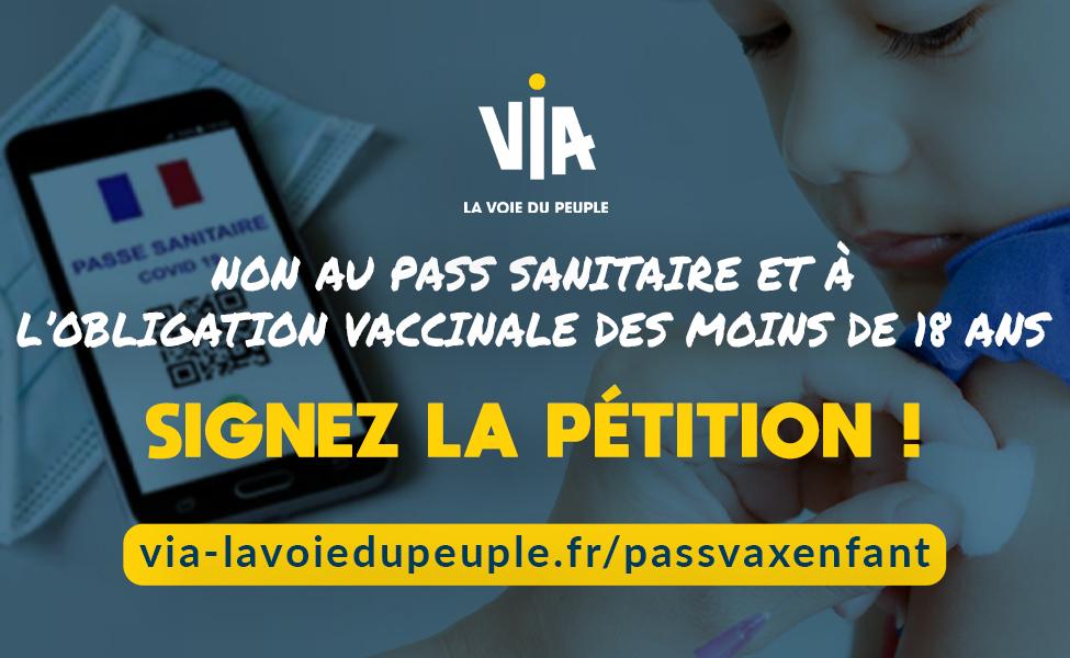 Signez la pétition pour dire non au pass sanitaire et à l'obligation vaccinale des moins de 18 ans